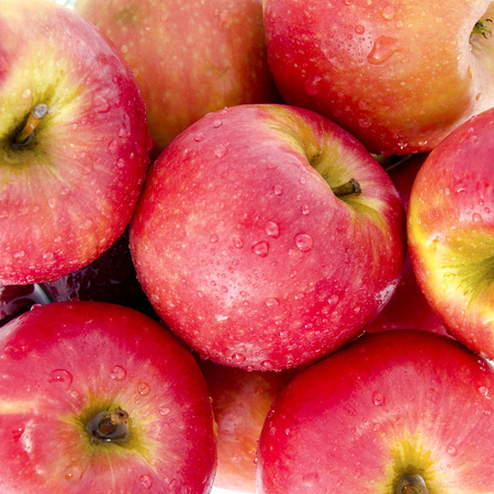 close up image: close up image of red apple