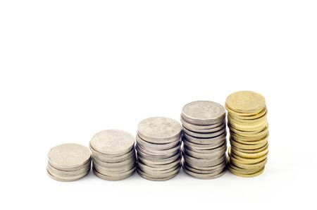 pecuniary: image of coins forming stairs shape Stock Photo