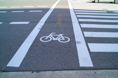 bicycle lane: bicycle lane in japan near by crosswalk on the road