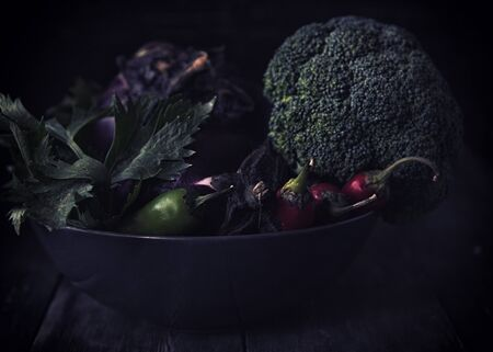Natural vegetables in the moonlight. Stock Photo