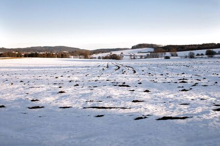 Empty field covered with snow. Stock Photo - 8208811