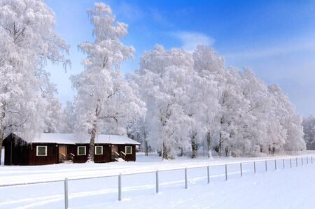 Snowy winter landscape with cottage and trees covered with frost photo