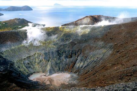 vulcano: Sea view over crater Vulcano on Vulcano island