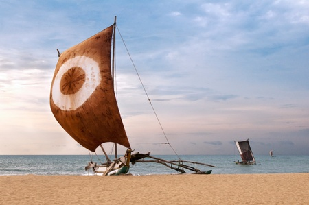 catamaran: Fishing boat on the sea coast, Sri Lanka Stock Photo