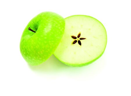 Halved apple, a star-shaped cores from the middle photo