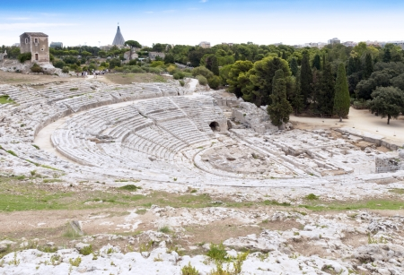 siracuse: The old stone amphitheater in Syracuse Sicily