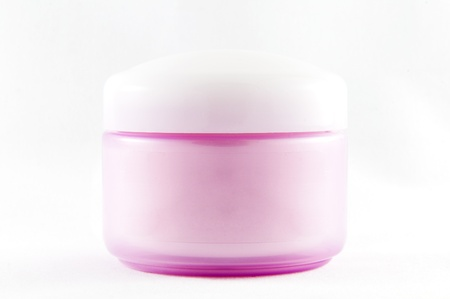 cosmetic pink container with cream, view from the front Stock Photo - 13782104