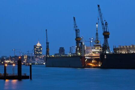 Port for cargo ships in the evening, Hamburg photo