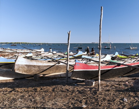 Harbor for small fishing boats on the island of Madagascar photo