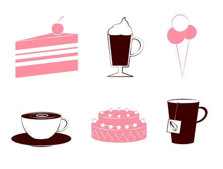 confectioner: Confectioner icons - sweet and coffee vector set