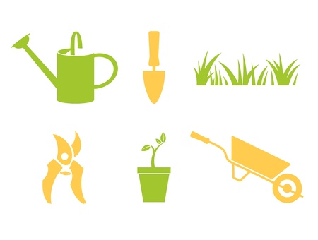 Garden objects   design elements isolated on white Stock Vector - 15713738