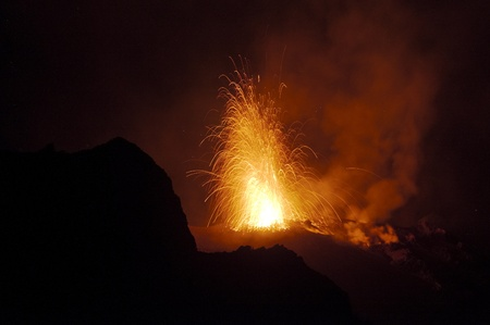 Night eruption, volcano Stromboli, aeolian island photo