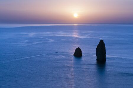 aeolian: Faraglioni of Lipari, Long Stone and Stone Menalda Stock Photo