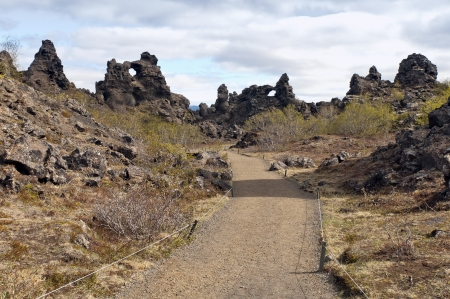 The Dimmuborgir area is composed of various volcanic caves and rock formations, Iceland photo