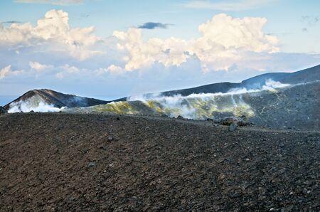 vulcano: The volcanic landscape. Vulcano  a small volcanic island. Stock Photo