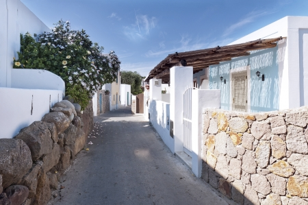 panarea: The narrow street with white buildings, the  island of Panarea