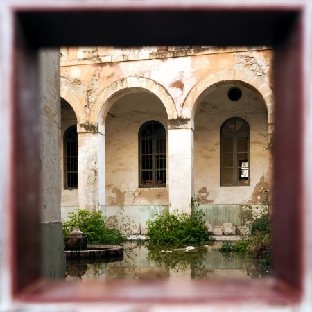 A view through a small window to the yard photo