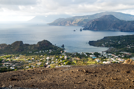 lipari: View from island Vulcano, Lipari on the right and Salina on the left