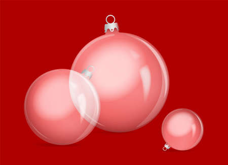 A red christmas ornament on the red background (vector illustration)
