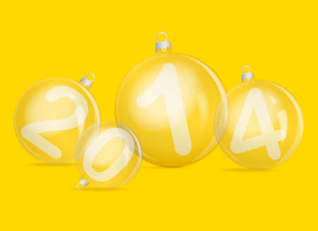 2 0: Numbers 2 0 1 4 and christmas ball - new year