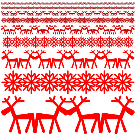 red deer: Red snowflake and red deer - Xmas winter pattern Illustration