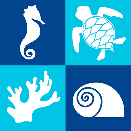 White sea objects   design elements on the blue background Vector