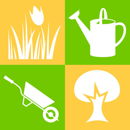 Garden - icons  White objects   design elements   Vector