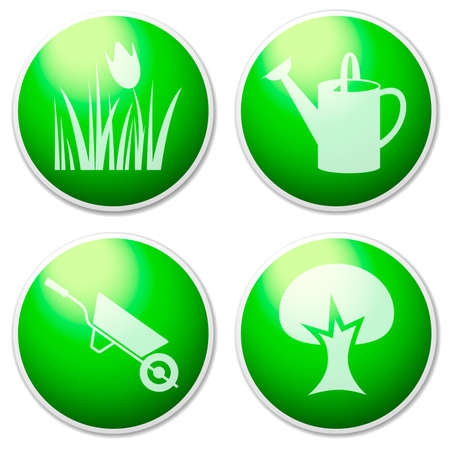 Garden  buttons   Objects   design elements on the green background   photo