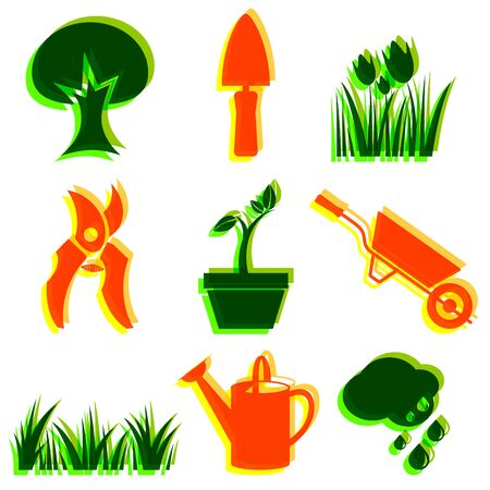 Set of garden icons  Objects   design elements   photo