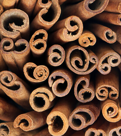 A closeup of cinnamon sticks (the background)
