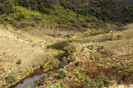 montane: The landscape with montane grasslands, a river and montane evergreen forests. Horton Plains National Park. Sri Lanka