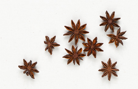 badiane: Star anise, star aniseed, or Chinese star anise on the canvas background