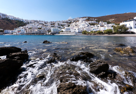 greek island: View of Astypalaia and its white houses. Astypalaia, Greek island Stock Photo