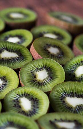 halved  half: Kiwifruits or Chinese gooseberry, background Stock Photo