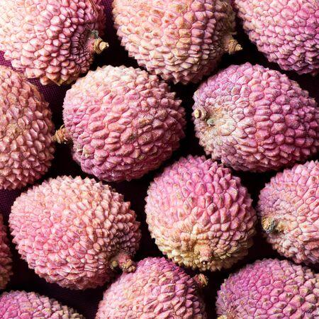 several: Several lychee fruits (litchi, liechee, or lichee)