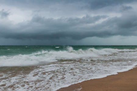 stormy sea: The landscape with cloudy sky and stormy sea