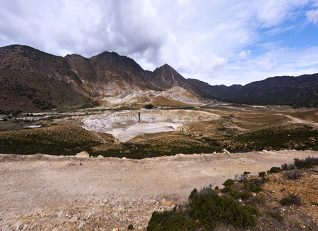 View of Stefanos, the largest crater of the volcano. Nisyros, Greek island. Stock Photo
