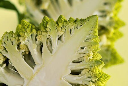 A closeup of a half of a Romanesco broccoli (also known as Roman cauliflower)
