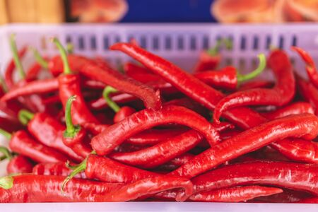 Abstract nature blured background, Red hot chili pepper. Selective focus.