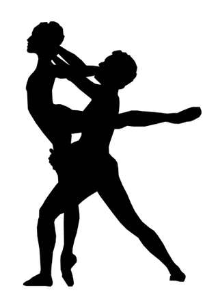 couple dancing ballet isolated in white