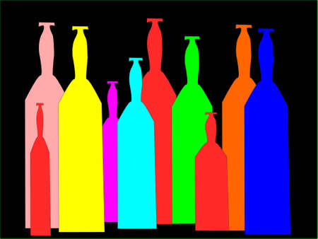 colored wine bottles isolated in black Illustration