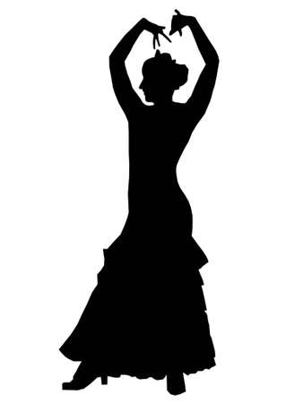 woman dancing: woman dancing spanish flamenco