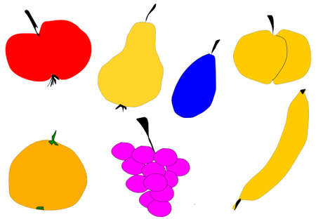 colored fruits isolated in white Illustration