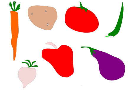 colored vegetables isolated in white Illustration