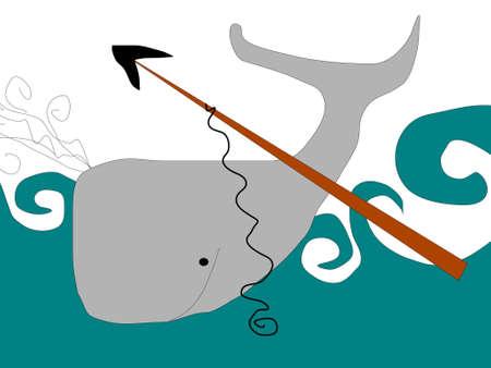 einfache Skizze von Whaling Illustration