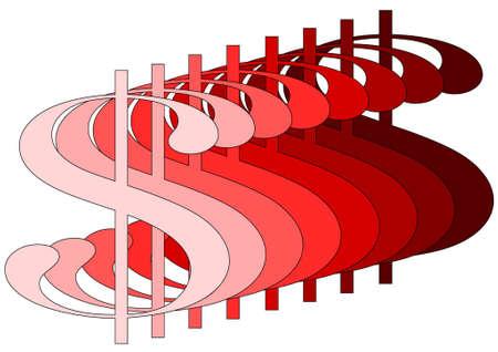 dollar in red degradee