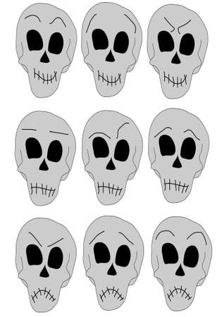 six human skull with different expressions Illustration