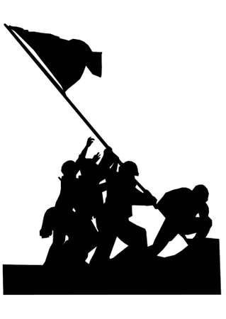 "sillhouette der ber�hmten Foto ""Erh�hung der Flagge""  Illustration"