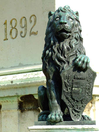 lion with coat of arms Stock Photo
