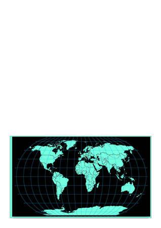 World map black background